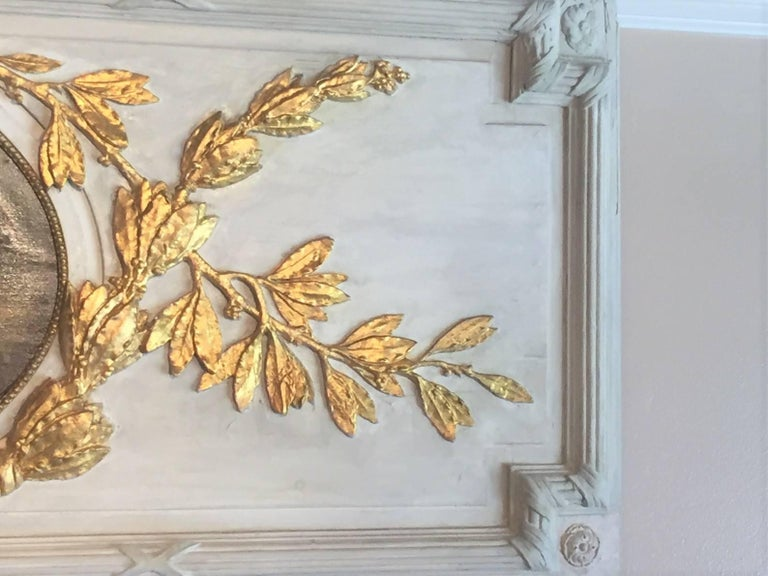 Carved Giltwood and Painted Boiserie Overdoor Frieze Panel with Cherubs Inset For Sale 1