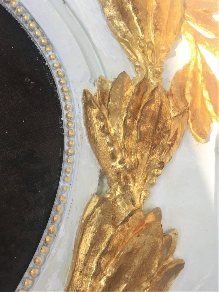 Carved Giltwood and Painted Boiserie Overdoor Frieze Panel with Cherubs Inset For Sale 3