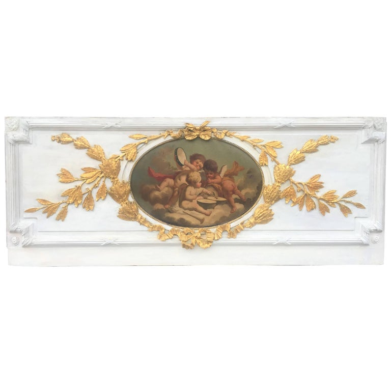 Carved Giltwood and Painted Boiserie Overdoor Frieze Panel with Cherubs Inset For Sale