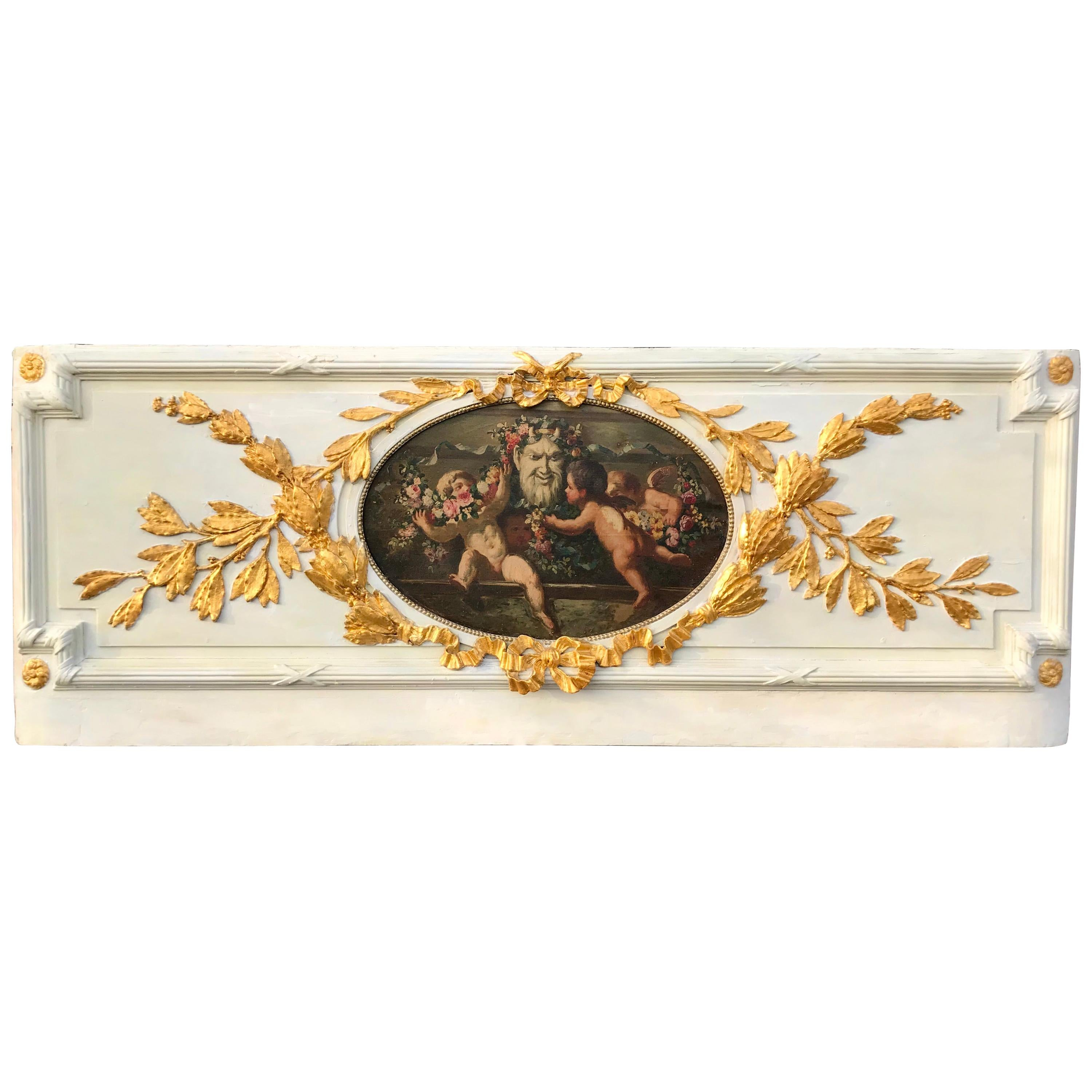Carved Giltwood and Painted Boiserie Overdoor Panel