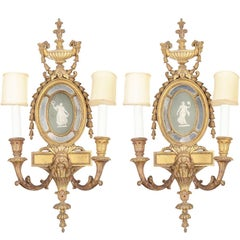 Carved Giltwood and Wedgwood Wall Appliques, 19th Century