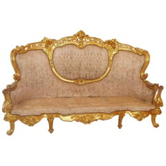 Carved Giltwood Baroque French Sofa