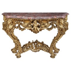 Carved Giltwood Louis XV Style Console Table In the Manner of Nicolas Pineau
