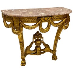 Carved Giltwood Marble Top French Style Console Table