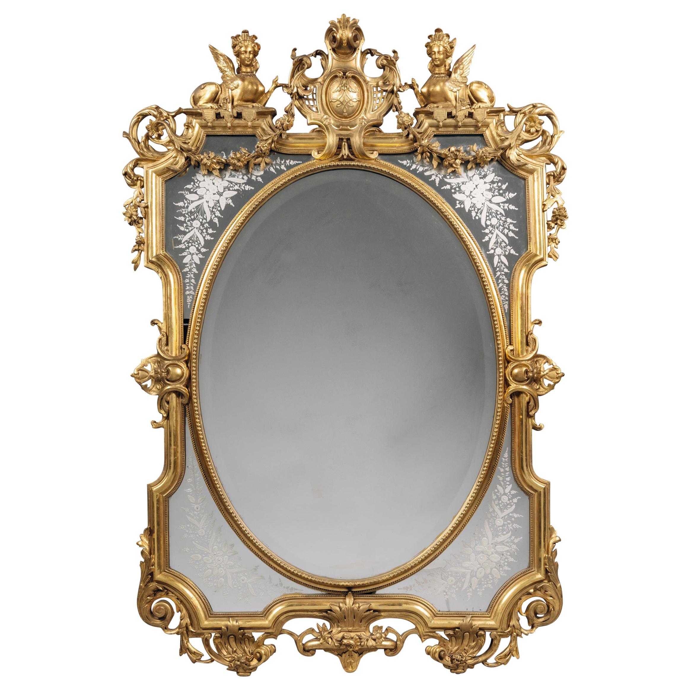Carved Giltwood Marginal Frame Mirror