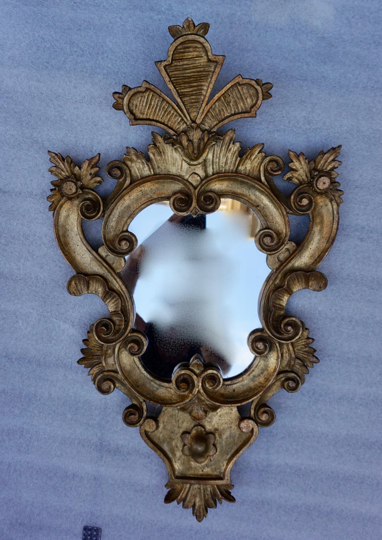 Mid-Century Modern Carved Giltwood Mirror For Sale
