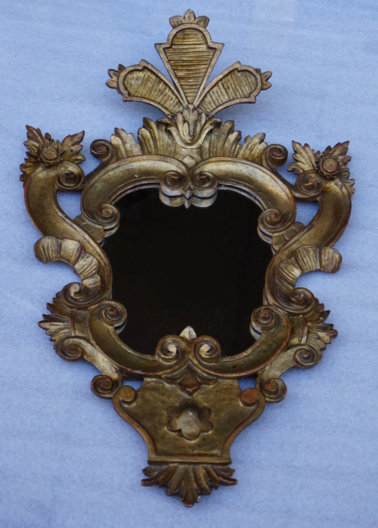 Wood Carved Giltwood Mirror For Sale