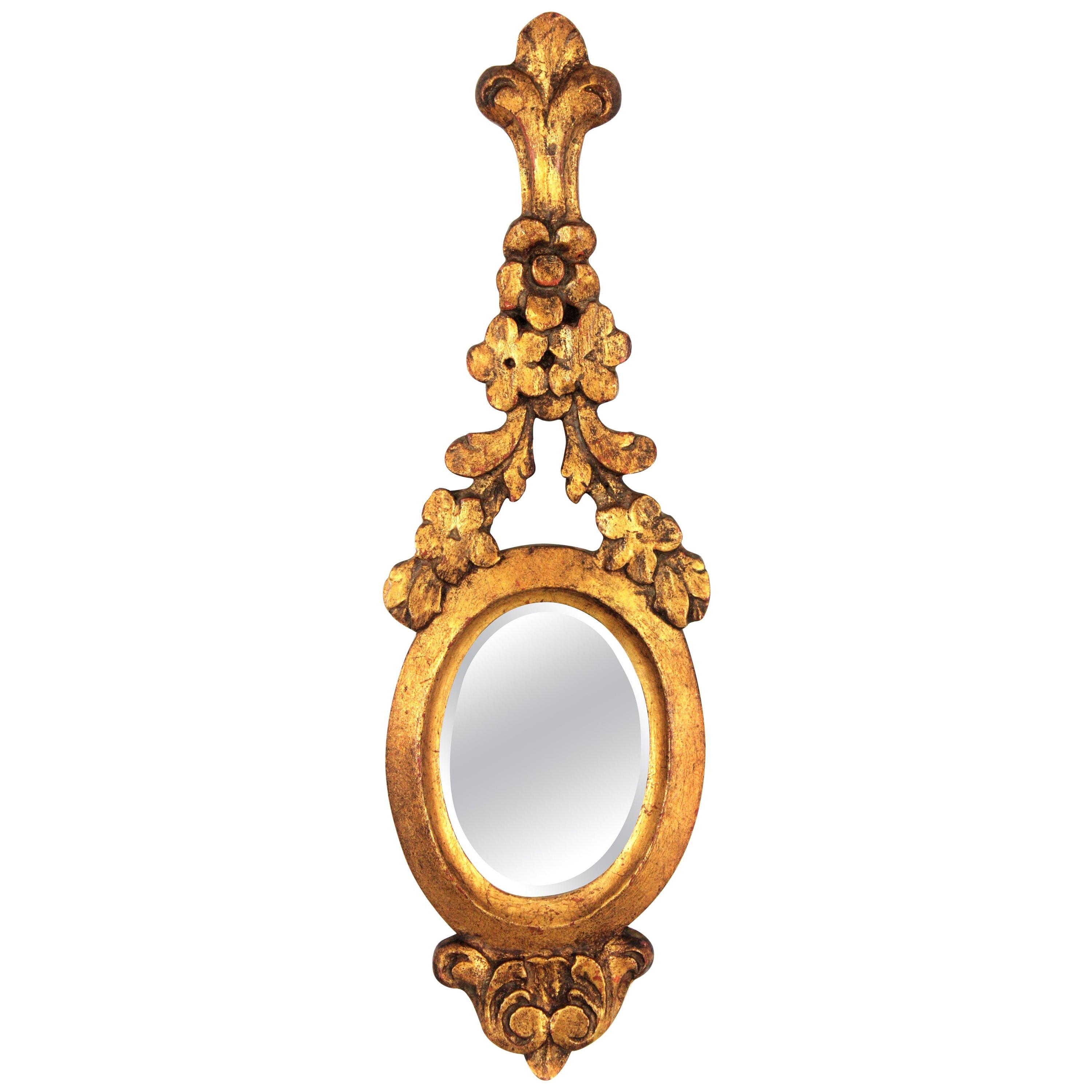 Carved Giltwood Renaissance Style Mini Sized Mirror with Crest, 1930s