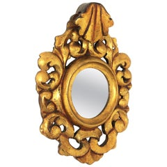 Carved Giltwood Rococo Style Mini Sized Mirror with Crest, 1940s