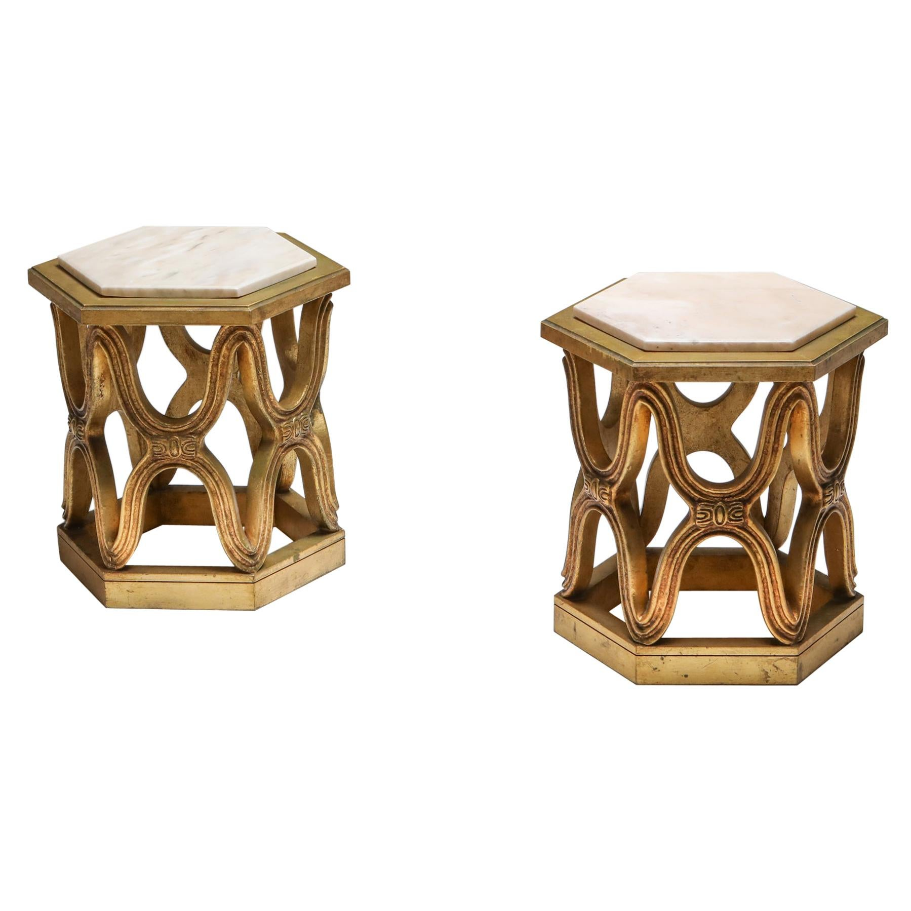 Carved Giltwood Side Tables with Marble Top, 1970s
