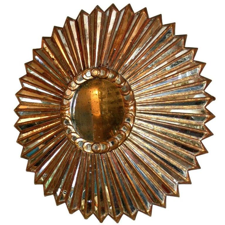 Carved Giltwood Sunburst Mirror For Sale