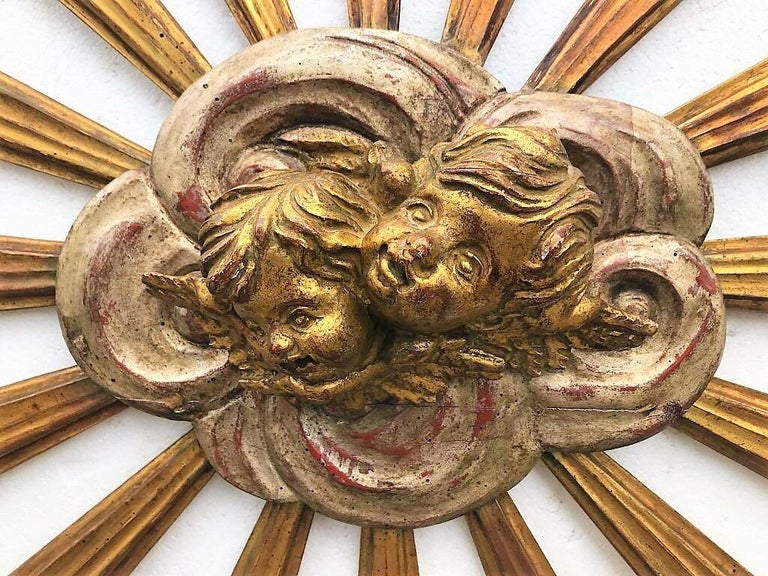 Carved Giltwood Sunburst with Putti in Clouds For Sale 1