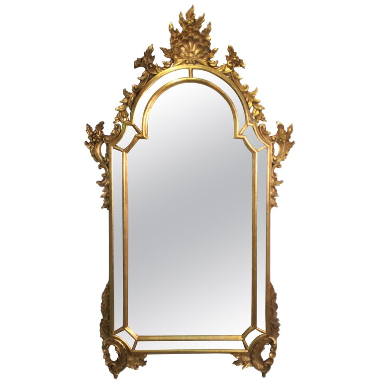 Carved Gold Giltwood Venetian Mirror, La Barge Mirrors