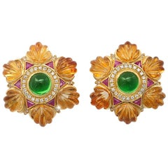 Carved Golden Citrine Green Tourmaline Ruby Diamond Gold Ear Clips