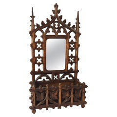 Carved Gothic Wooden Fretwork Letter Rack with Mirror.
