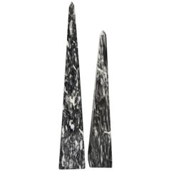 Carved Gray and White Marbled Obelisks