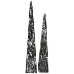 Carved Gray and White Marbled Obelisks