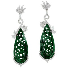 18.5 carats Carved Jade 18 Karat Gold Diamond Earrings