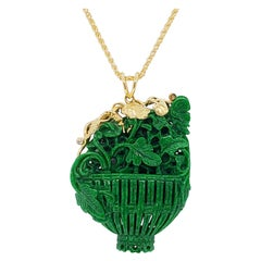 Carved Green Jadeite and White Diamond Pendant Necklace in 18 Karat Yellow Gold