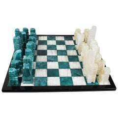 Carved Green Malachite and Marble Chess Set - Mexico