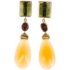 Carved Green Tourmaline Opal Drop Cabochon Ruby 18 Karat Gold Earrings