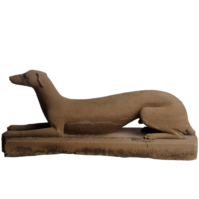 Carved Greyhound Statue For Sale