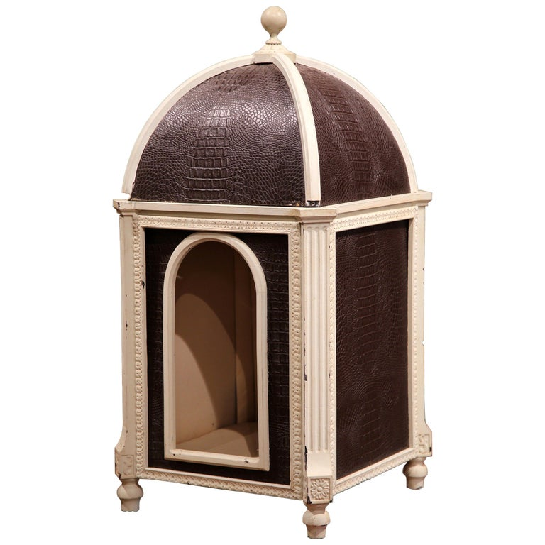 Carved Hand Painted and Leather French Dog House with Dome Top For Sale