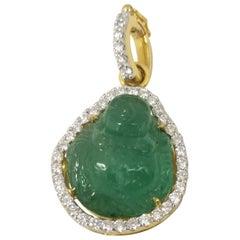 Carved Happy Buddha Emerald with Diamond Pendant Set in 18 Karat Gold Setting