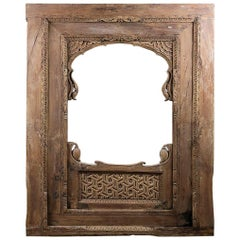 Carved Hardwood Frame / Panel from India, 20th Century