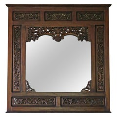 Carved Hardwood Wall Mirror Mid 20th Century