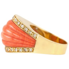 Carved High Coral Cocktail Ring with Diamonds