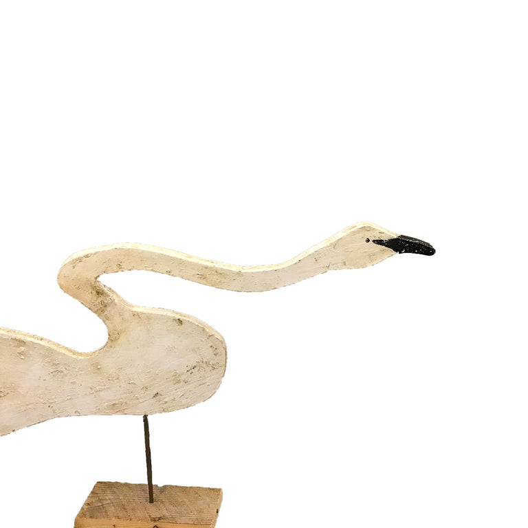 Folk Art Carved Hissing Swan For Sale