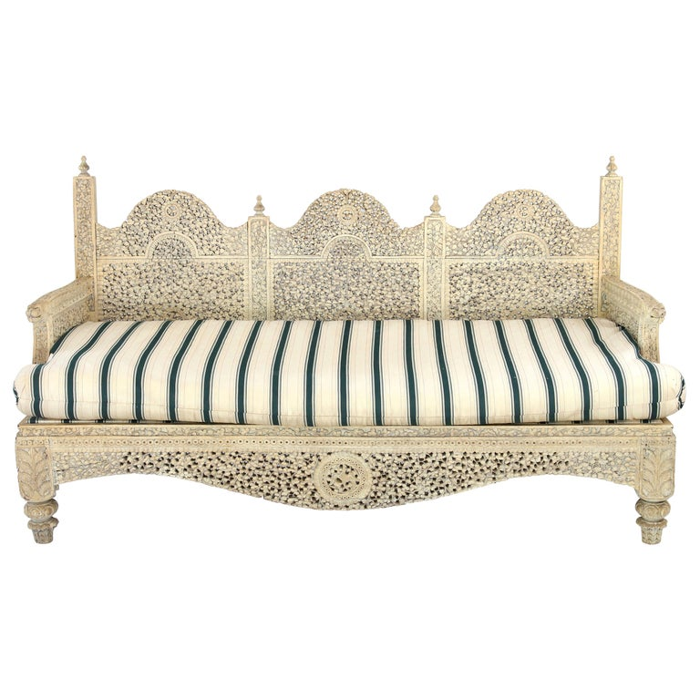 Carved Indian Settee For Sale