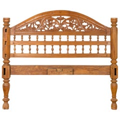 Carved Indonesian Vintage Headboard with Scrolling Foliage and Petite Balusters
