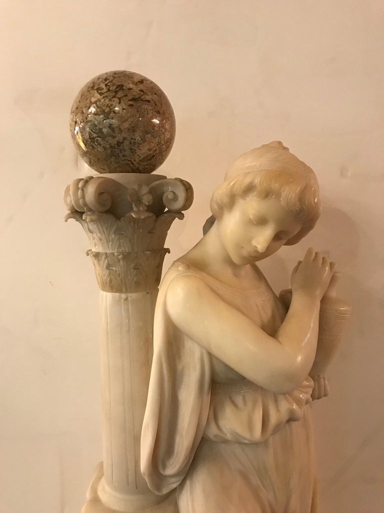 Carved Italian Alabaster Sculpture of a Maiden at the Well, circa 1900 In Good Condition For Sale In Beverly Hills, CA