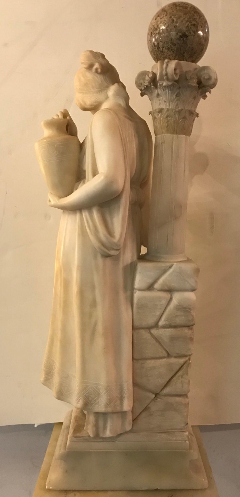 20th Century Carved Italian Alabaster Sculpture of a Maiden at the Well, circa 1900 For Sale