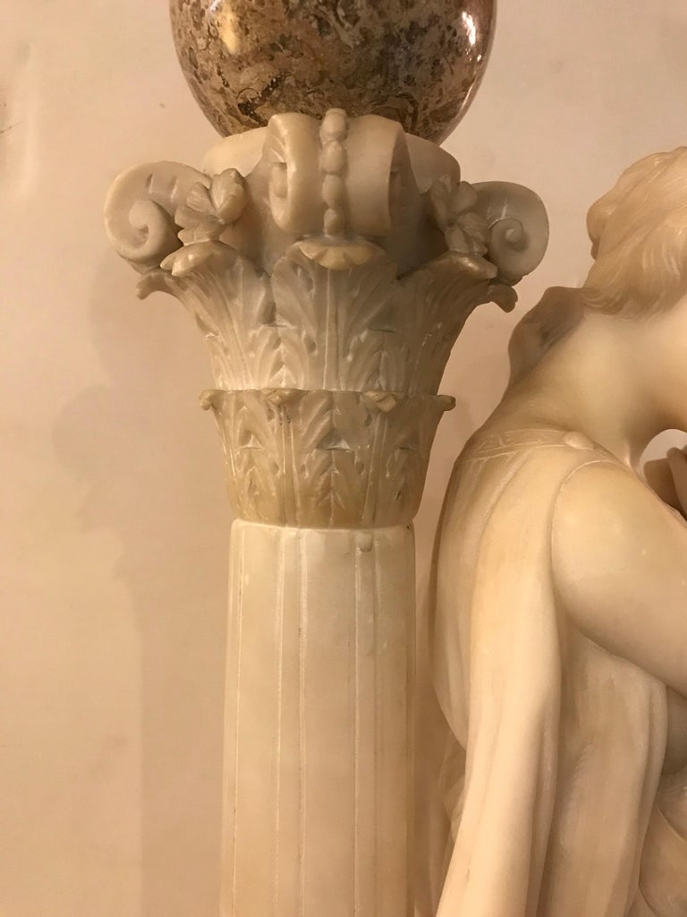 Carved Italian Alabaster Sculpture of a Maiden at the Well, circa 1900 For Sale 1