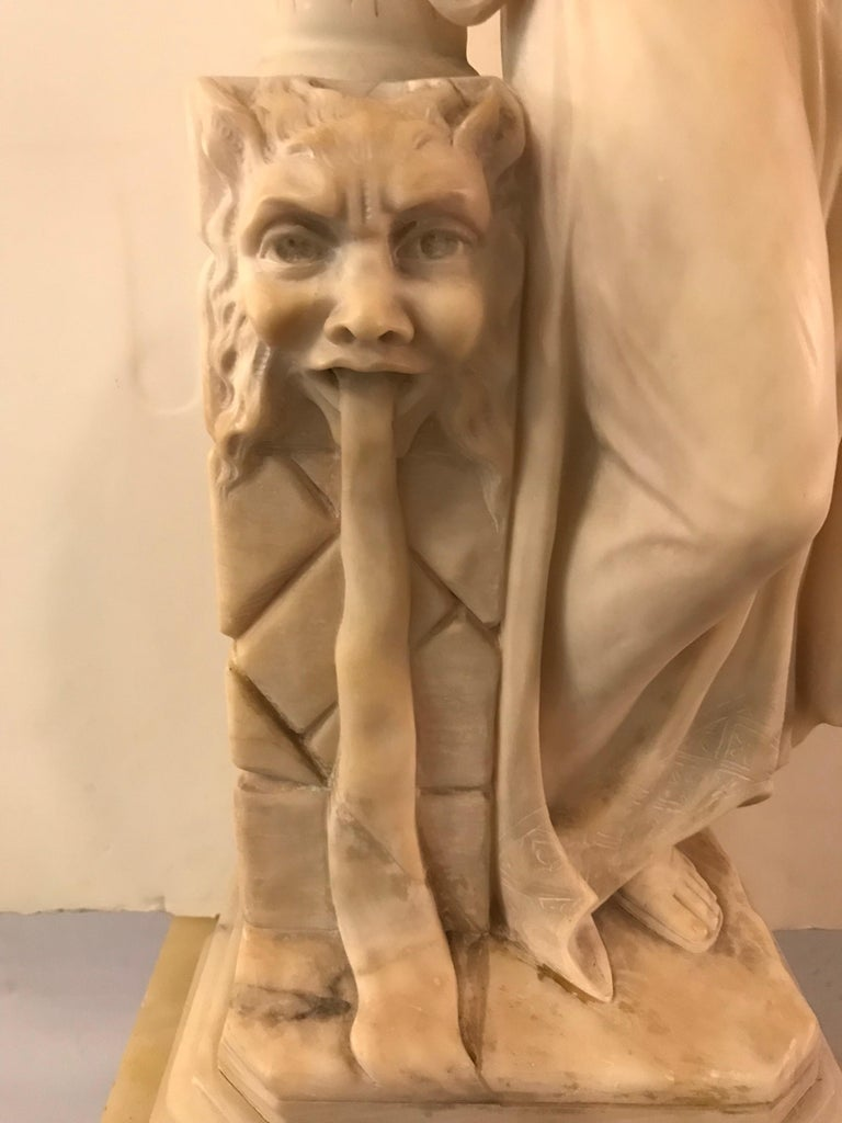Carved Italian Alabaster Sculpture of a Maiden at the Well, circa 1900 For Sale 2