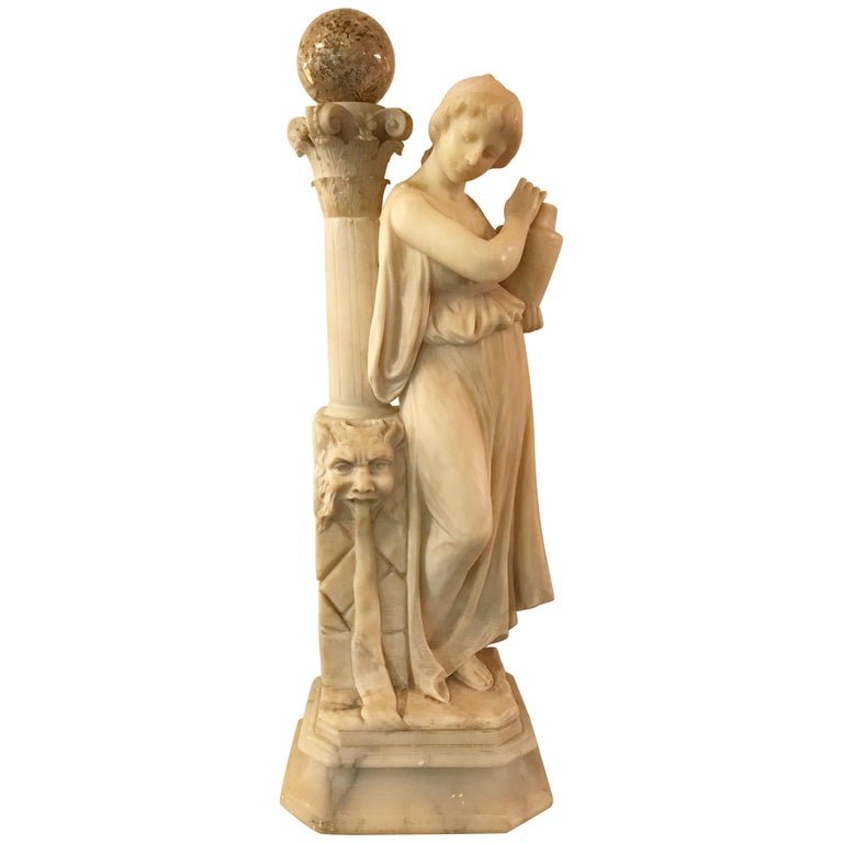 Carved Italian Alabaster Sculpture of a Maiden at the Well, circa 1900 For Sale
