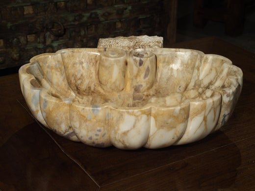 Carved Italian Breccia Marble Shell Form Sink
