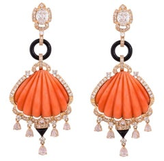 Carved Italian Coral, Onyx and Diamond Dangle Earrings