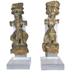 Carved Italian Gilt Wood Figures on Lucite Stands