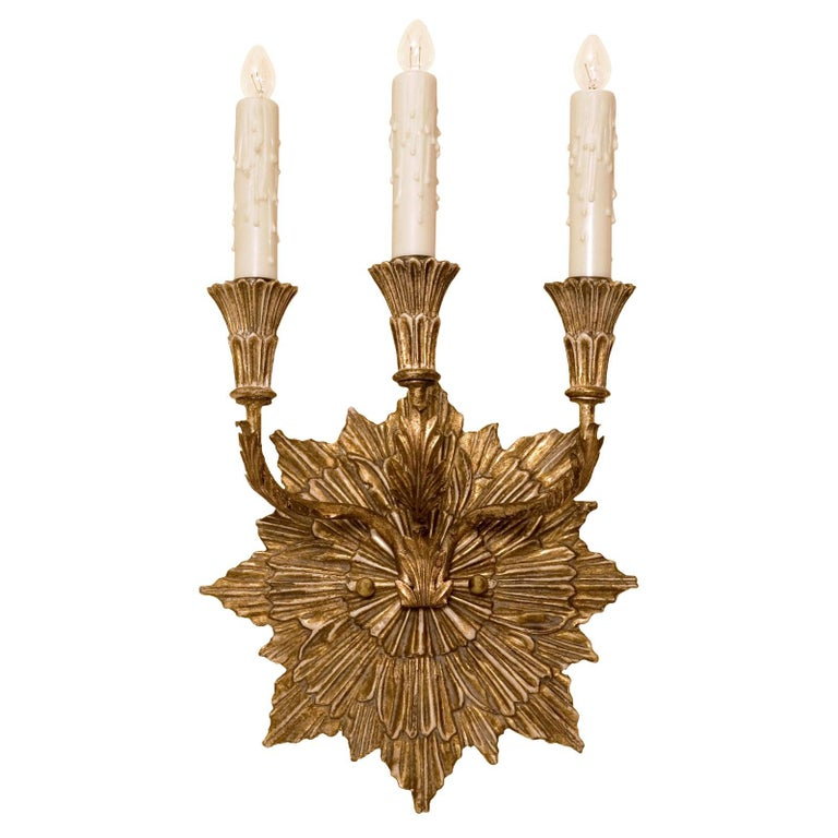 Empire Carved Italian Giltwood Three-Arm Sconce by Randy Esada Designs For Sale