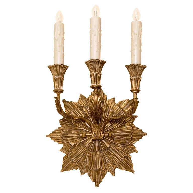 Carved Italian Giltwood Three-Arm Sconce by Randy Esada Designs For Sale