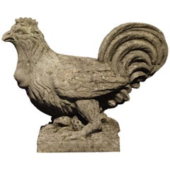 Carved Italian Limestone Chicken Statue, 20th Century