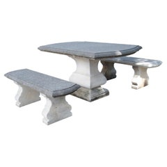 Carved Italian Limestone Garden Table with Matching Stone Benches