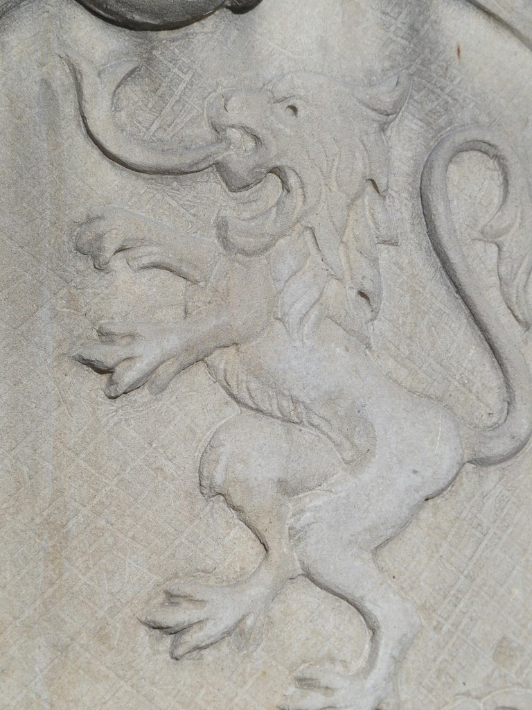 Carved Italian Limestone Plaque with Rampant Lion For Sale 6
