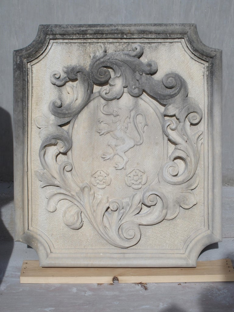 This masterfully hand carved coat of arms plaque is from Italy and made from natural Vicenza stone. It depicts a rampant lion facing left with two floral motifs beneath. Surrounding the center oval are large and flowing asymmetrical acanthus leaves