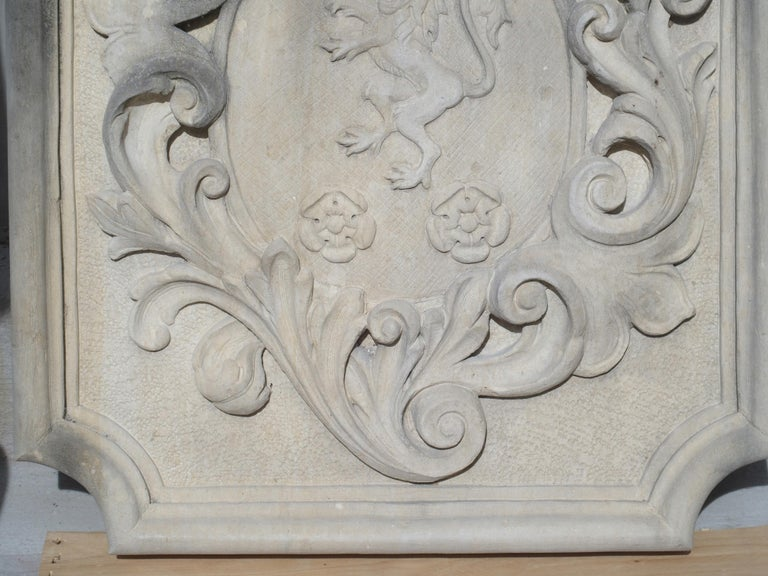 Carved Italian Limestone Plaque with Rampant Lion In Good Condition For Sale In Dallas, TX