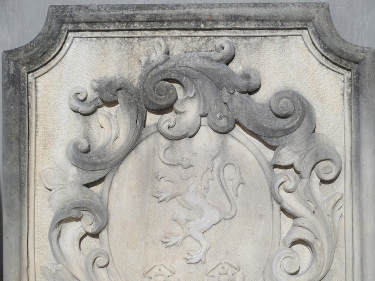 Contemporary Carved Italian Limestone Plaque with Rampant Lion For Sale